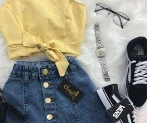 skirt, vans, and crop top image