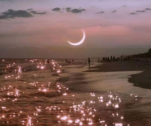 moon, sea, and sky image