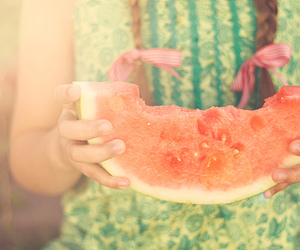 watermelon, girl, and summer image