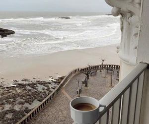 coffee, beach, and balcony image
