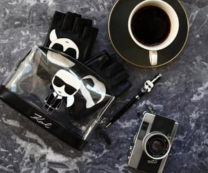 coffee, fashion, and karl lagerfeld image
