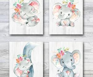 etsy, elephant art, and gray pink image