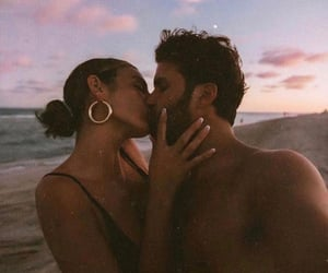 beach, pink, and couple image