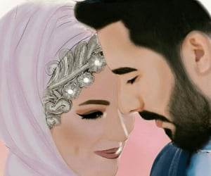 art, smile, and muslim couple image