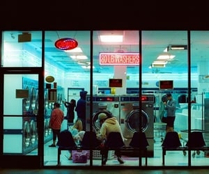 laundromat, night, and people image