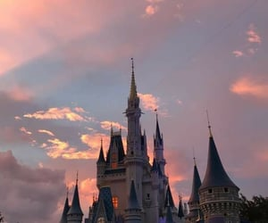 castle, disney, and sunset image