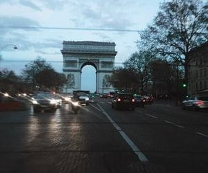 arc de triomphe, evening, and taxi image