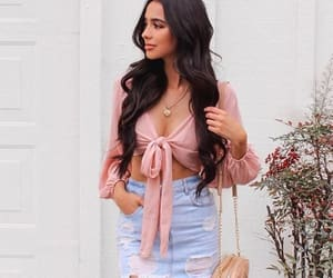 brunette, casual, and denim image