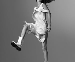 black & white, campaign, and model image