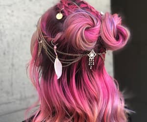 pink hair and festival hair image