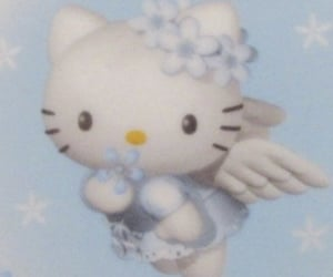 hello kitty, blue, and angel image