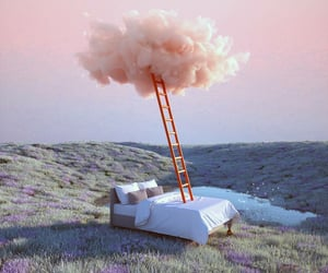 Dream, bed, and clouds image