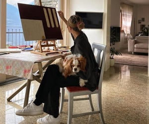 dog, painting, and artist image