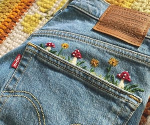 embroidery, jeans, and mushroom image
