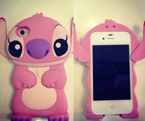 iphone, pink, and stitch image
