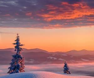 landscape, sky, and snow image