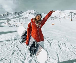 outfit, snowboard, and girl image