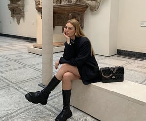 blazer, black combat boots, and fashion style mode image