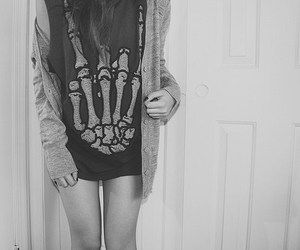 girl, black and white, and t-shirt image