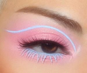 makeup, blue, and pink image