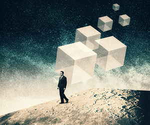 cubes, man, and outer space image
