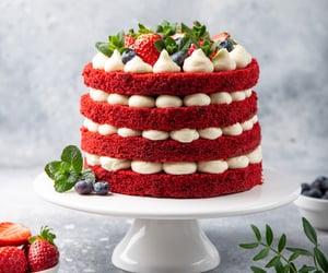 cakes, Red velvet cake, and birthday cakes image