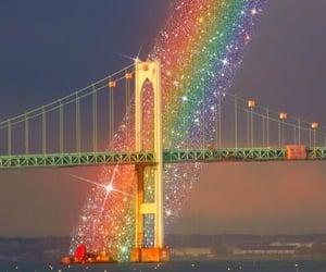 rainbow and bridge image