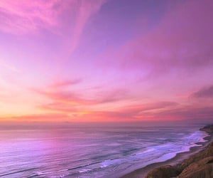 pink, sea, and sunset image