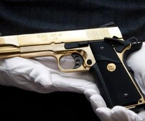 gun, gold, and black image