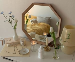 mirror, beige, and interior image