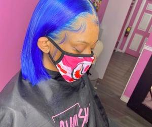 blue, dark blue hair, and slay image