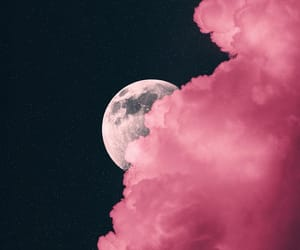 clouds, moon, and pink image