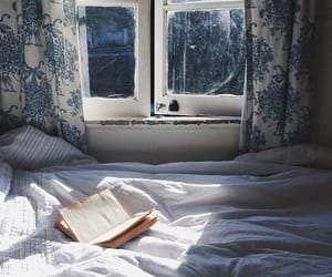 book, bed, and window image