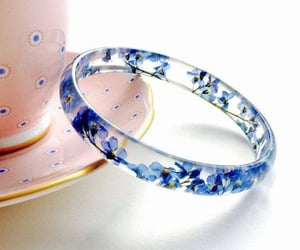 blue, crystal, and flower image