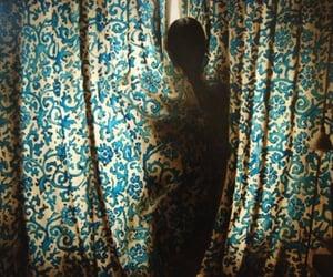 blue, gloomy, and curtain image