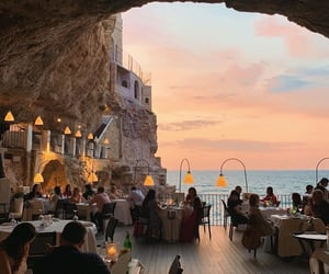 sunset, travel, and restaurant image