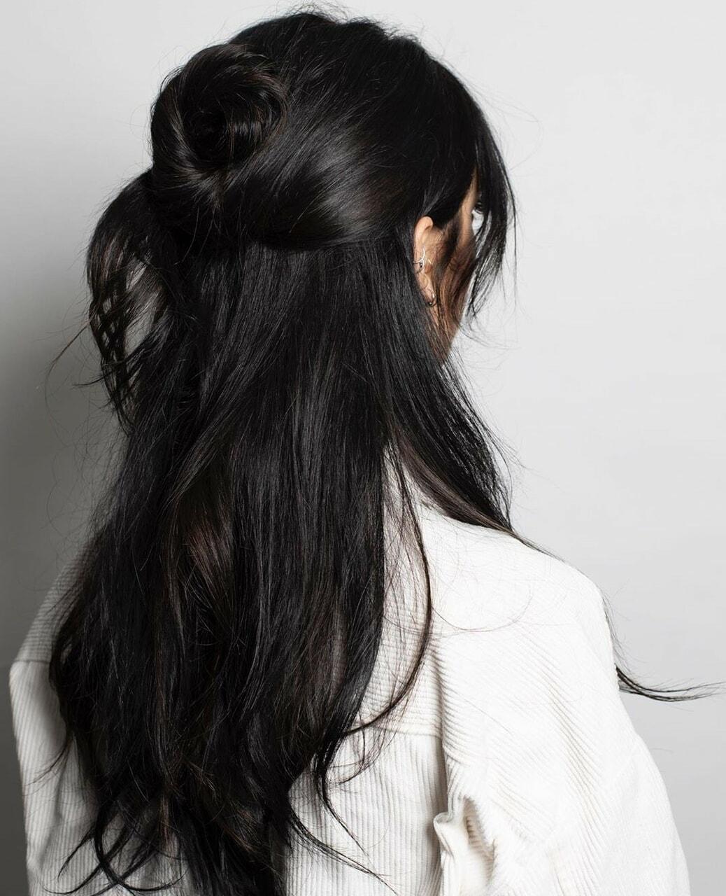 black hair, hairstyle, and longhair image