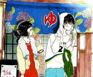 illustration, japan, and hotspring image