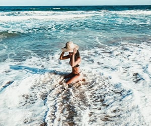 girl, happy, and ocean image