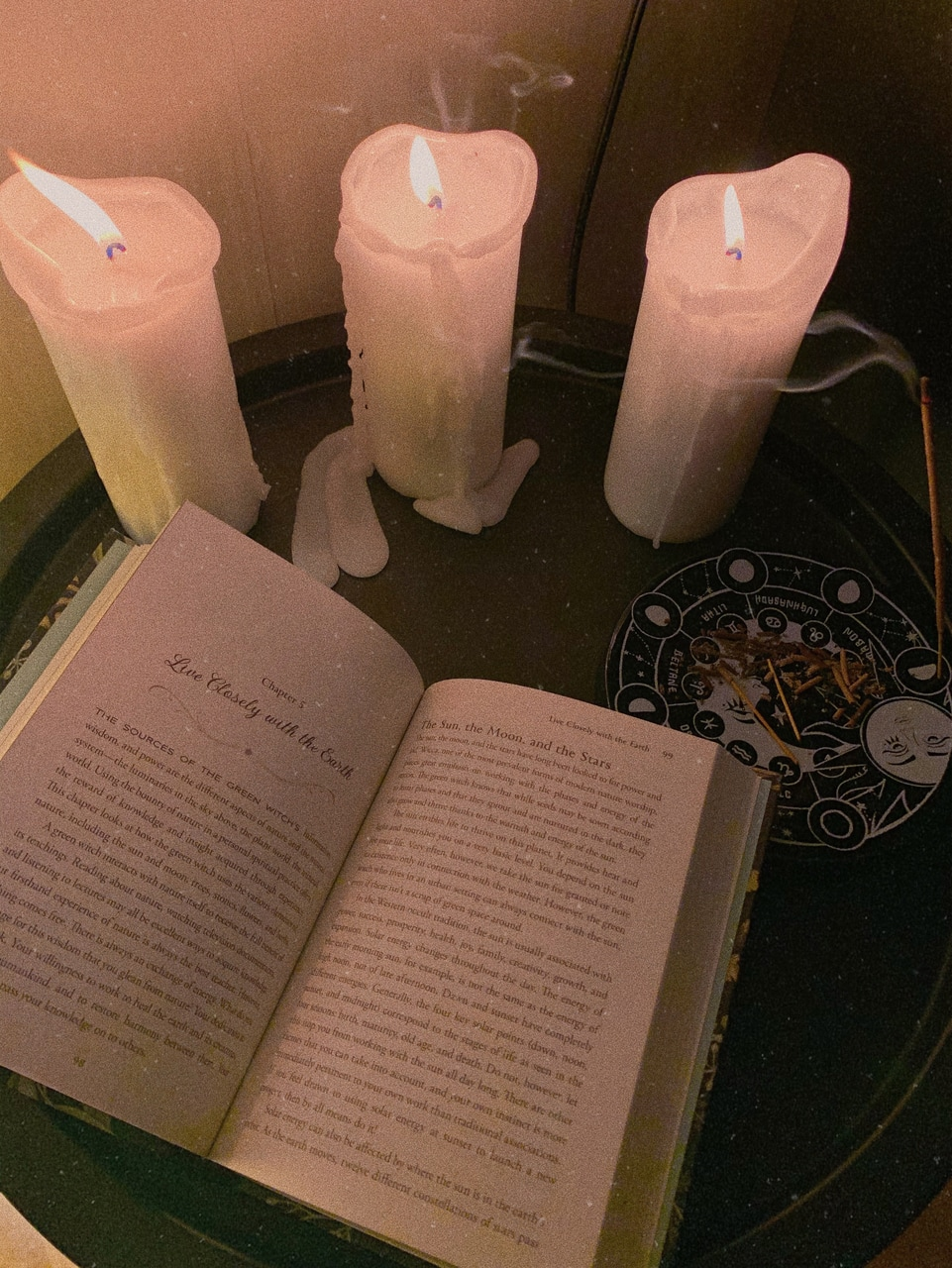 Cosy Evening With Some Candles Nag Champa Incense And The Green Witch Book
