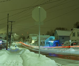 night, snow, and streets image