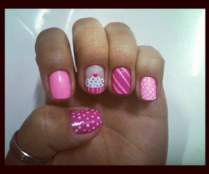 nails, rosa, and unhas image