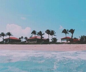 aesthetic, pink teal, and beach image