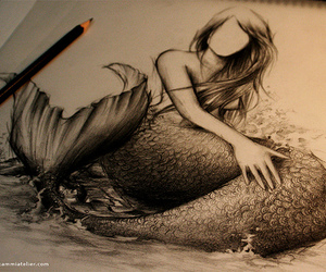art, mermaid, and pencil image