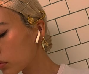 girl, gold, and hair image