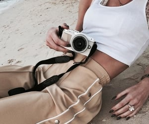 camera, beach, and outfit image