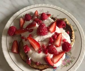 banana pancakes, beautiful, and berries image