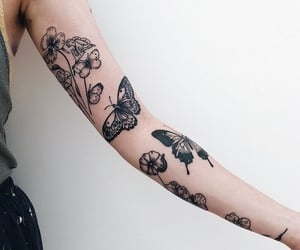 tattoo, arm, and butterfly image