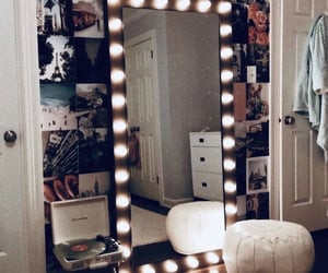 bedroom, mirror, and room image