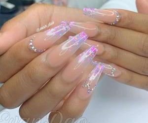 long nails, nail art, and purple nails image